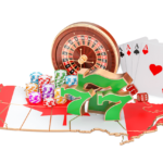 Canadian flag in the shape of the country overlaid with casino imagery. Roulette wheel, Lucky 7s, cards, and stacks of chips.